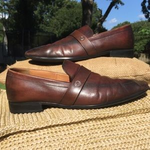 Authentic Gucci Men's Brown Leather Loafers 9.5
